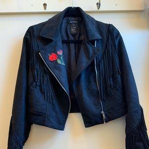Zara Fringe Motorcycle Jacket
